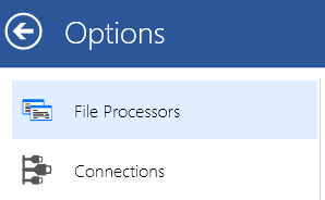 File Processor options menu