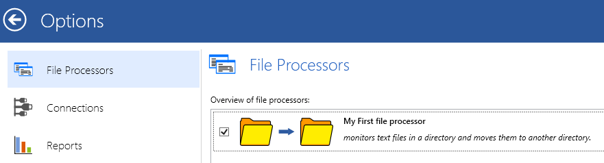 overview of all file processors