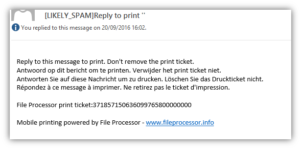 Mobile printing print ticket to release the print job